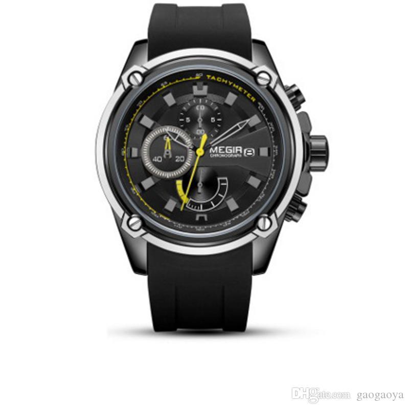 Nova 2019 Luxo Ver True três olho desportivo multi-funções silicone relógio de quartzo Unisex relógio de quartzo 569