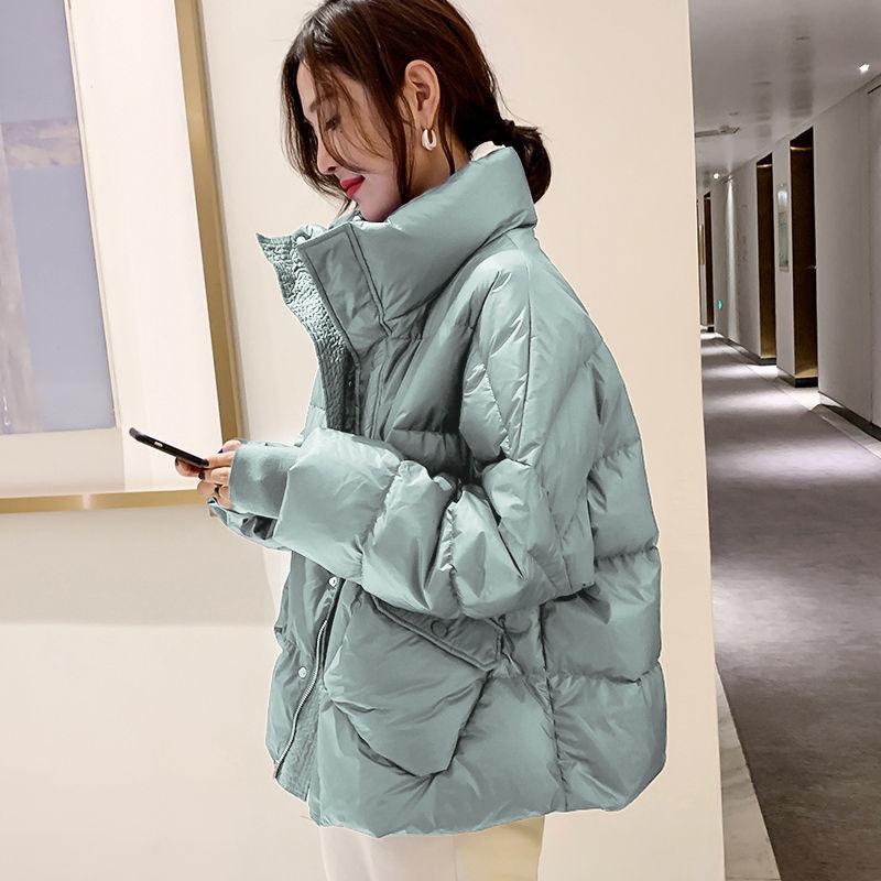 2020 Nouvelle veste pour femmes vers le bas à court lâche pied de col de grande taille épais manteau d'hiver Femme Mode Vêtements pour femmes sauvages