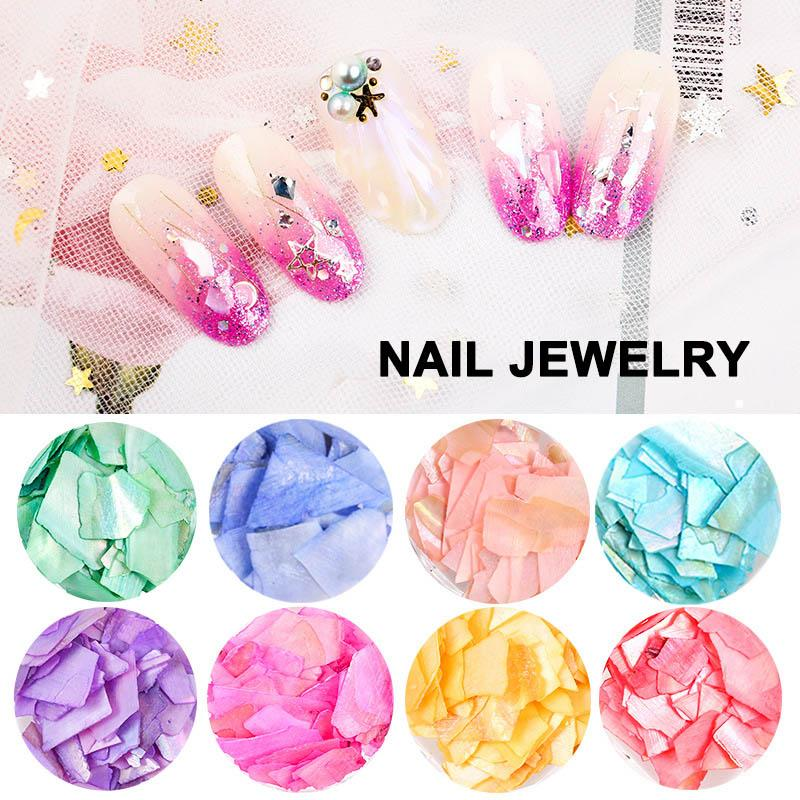 11 Colors Thin Natural SeaShell Nail Sequins DIY 3D Nail Art Decorations FM88