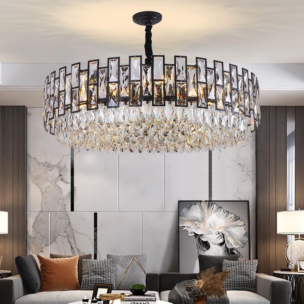 الثريا الكريستال الإضاءة الحديثة سوداء مستديرة تصميم بريق الثريات أدى لغرفة المعيشة مصابيح المطبخ غرفة النوم