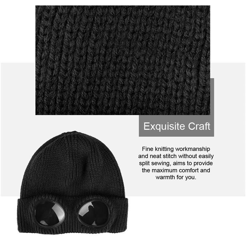 Double-Use Thickened Winter Knitted Hat Warm Beanies Skullies Ski Cap With Removable Glasses For Women Red Wine Cycling Caps Masks