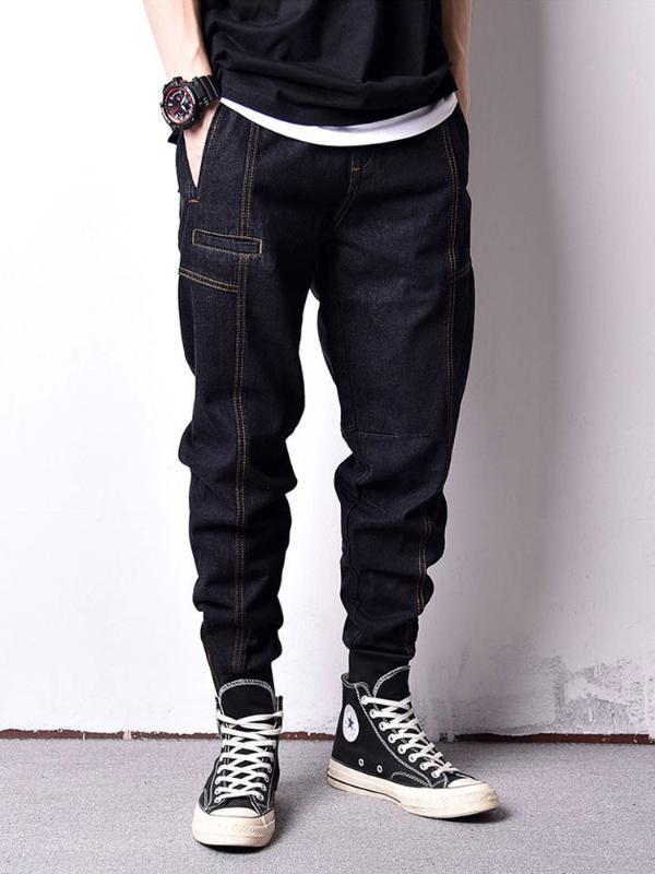 Men's Jeans Japanese Style Fashion Men Vintage Black Color Loose Fit Spliced Cargo Pants Hombre Streetwear Hip Hop Joggers