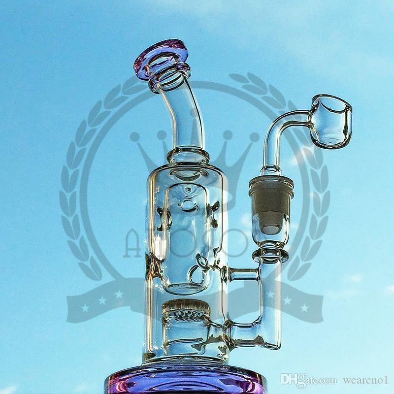 Corona Glass Fábrica de vidrio Bong, plataformas DAB, Cachimbas con azulejos azules y amarillo Tubo de agua de agua de 14 mm