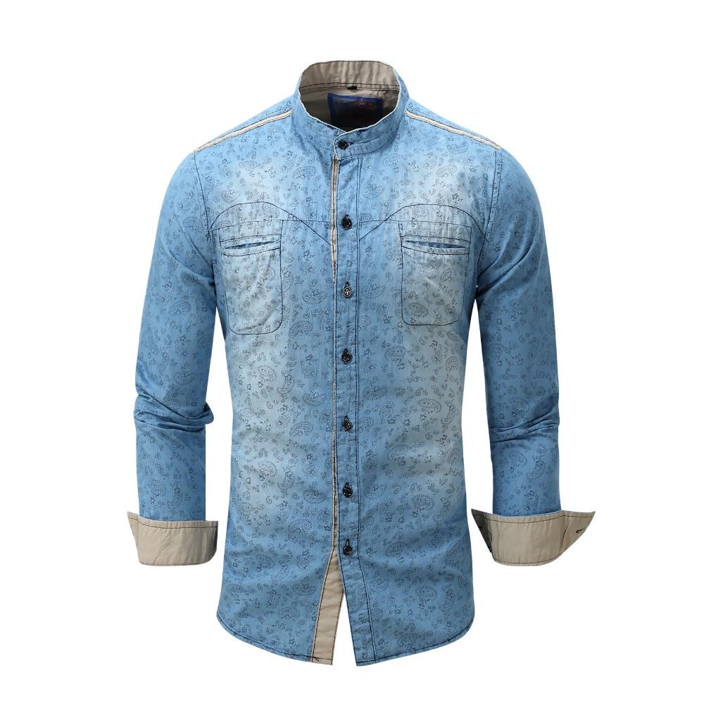 Erkek Elbise Gömlek Bahar Rahat Denim Klasik Vintage Mavi Kot Gömlek Slim Fit Uzun Kollu Cepler Camisas Chemise Vestidos