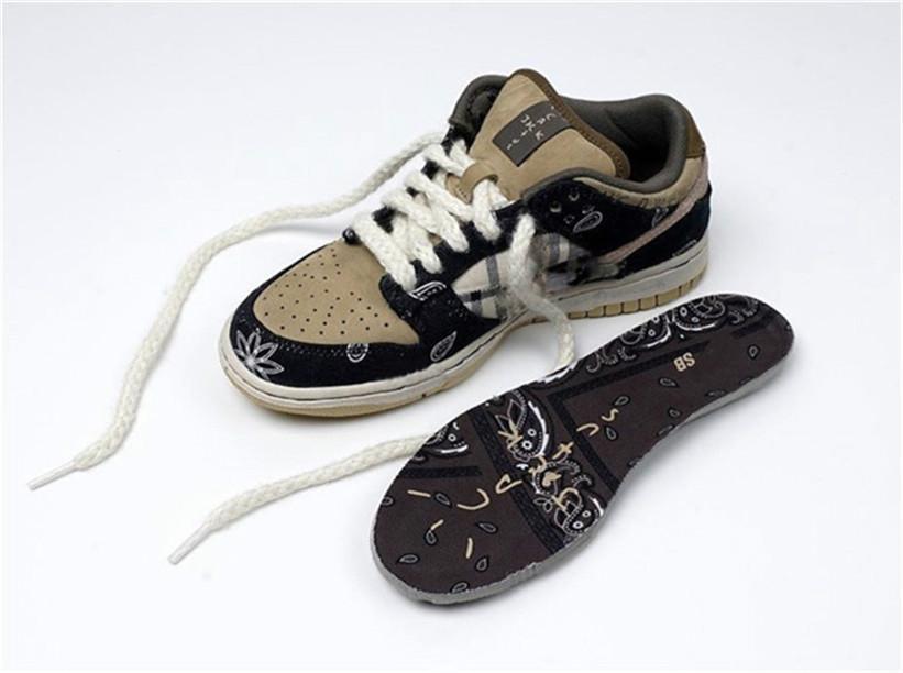 2020 authentique Travis Scott x SB Dunk Low Chaussures de basket Hommes Femmes Cactus Jack Parachute Beige Petra chaussure Brown Sneakers Noir Sport nouveau