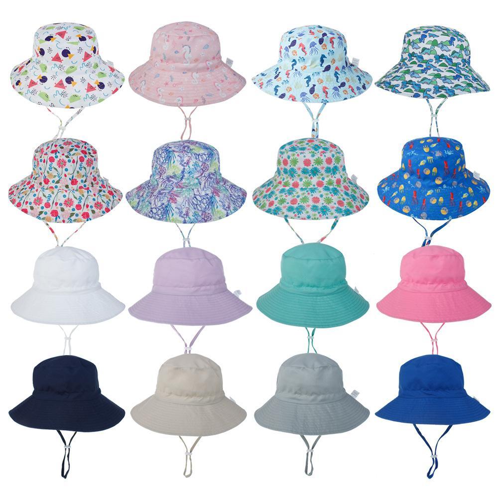 أطفال 50 + upf القطن قبعة الشمس قابل للتعديل للنمو مع حزام للطفل طفل الفتيات قبعات الصيف الصلبة لون نقي تصميم الأزهار