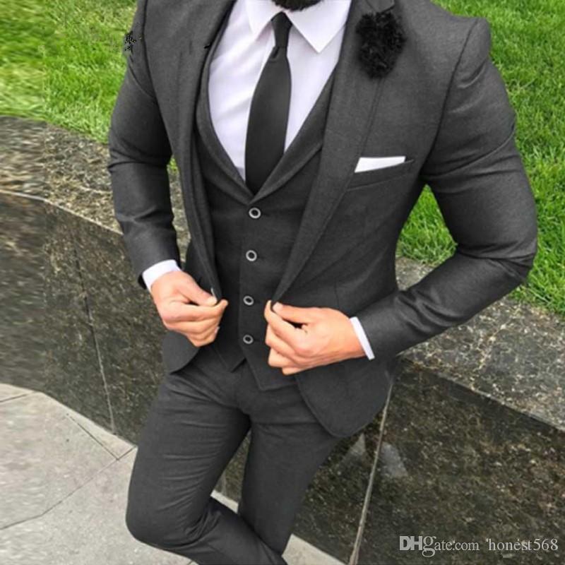 Bonito One Button Groomsmen Notch lapela do noivo smoking Homens ternos de casamento / Prom / Jantar melhor homem Blazer (jaqueta + calça + gravata + Vest) 691