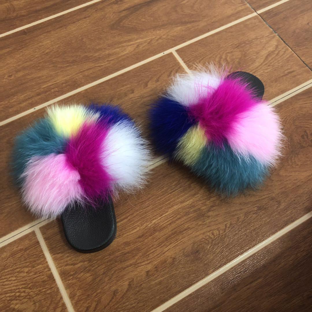 Chinelos crianças praia bonito Raccoon usar peles Slides Fluffy Slippers Criança Bebés Meninas Fur Slides sapatos de verão Flip Flops