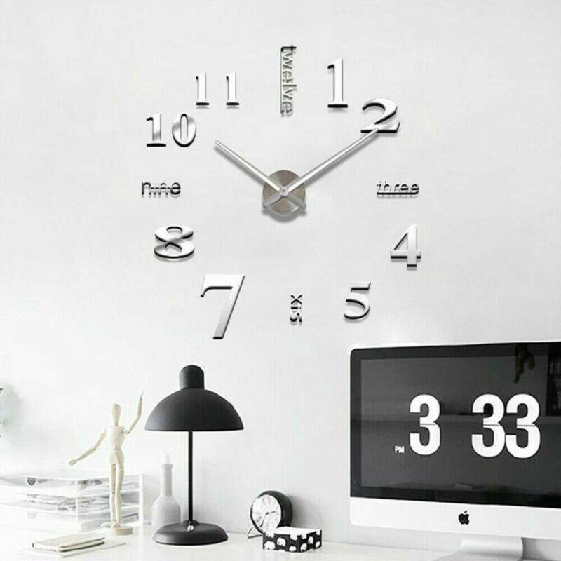 Moderne bricolage 2019 nouvelles véritable horloges du salon miroir 3d sticke horloge murale Big décoration de la maison acrylique autocollants montre diy