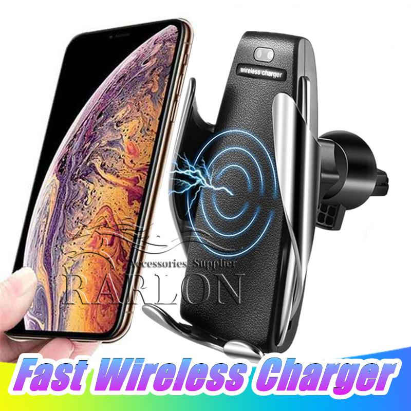 Titolare S5 caricabatterie senza fili automatica serraggio Caricabatteria da auto Mount Smart Sensor 10W veloce di carico del caricatore per l'iPhone Samsung tutti i dispositivi Qi