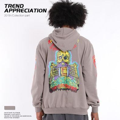 Designer Mens Hiphop Hoodies Trendy Kenye West Skulls Pattern Pullover Luxury Letter LONELY PLACE Mens Clothes Streetwear for Cool Teens