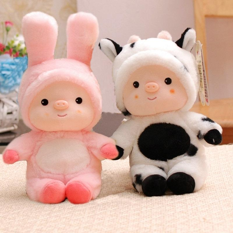 Pink Pig Panda Dressing Stuffed animals toy Cute Soft Animal clothing Cosplay Bunny Mouse Tiger Plush baby toy doll for children