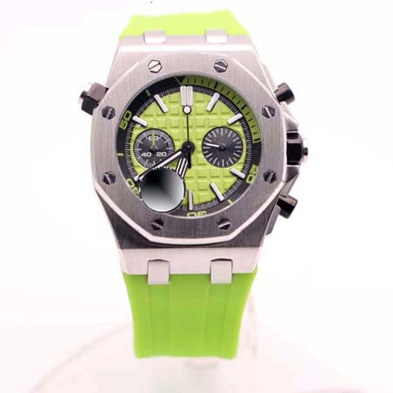 2020 최신 남자 손목 시계 절묘한 석영 야외 녹색 고무 밴드 시계 스테인레스 스틸 케이스 그린 다이얼 44mm 남성 손목 시계
