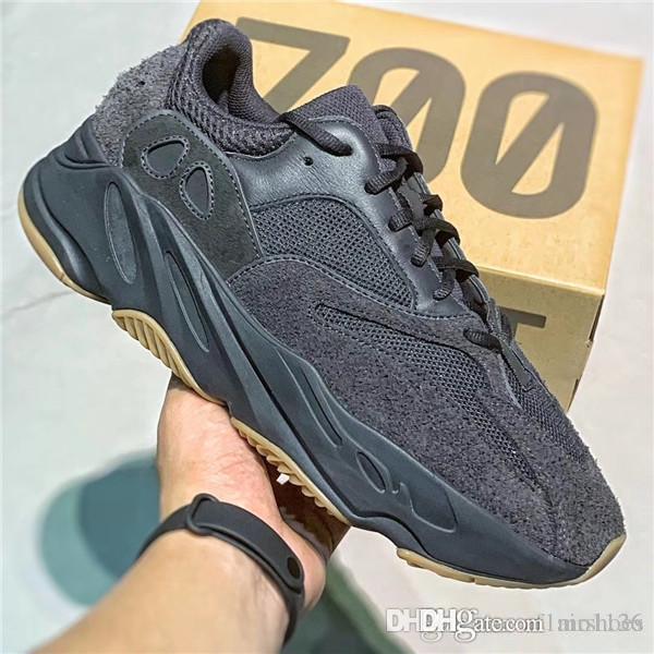 2019 Lanzamiento 700 v2 Vanta UTIBLK Negro Hombres Mujeres Running Shoes 3M reflectante de gamuza zapatillas de deporte Deportes