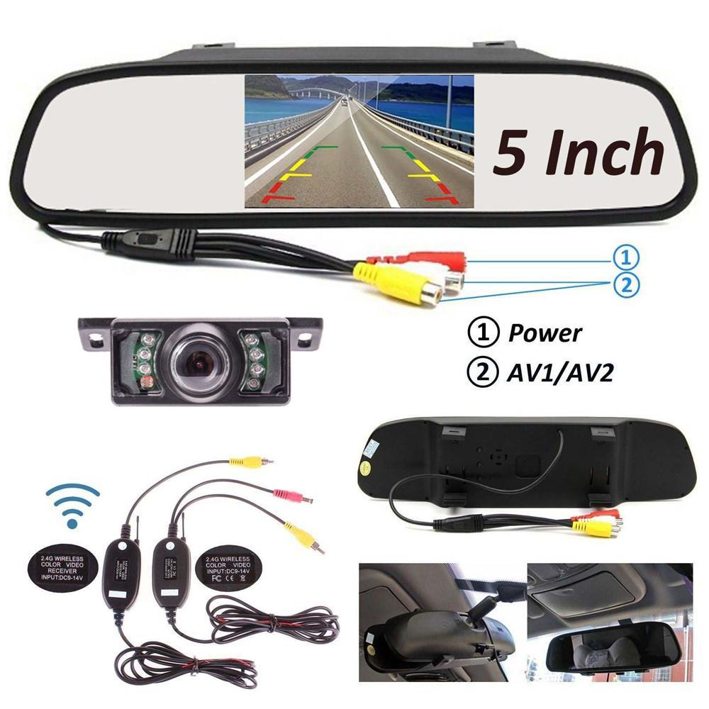 LCD Car TFT specchio del monitor senza fili dell'automobile inverso di retrovisione Kit telecamera Backup 5 pollici