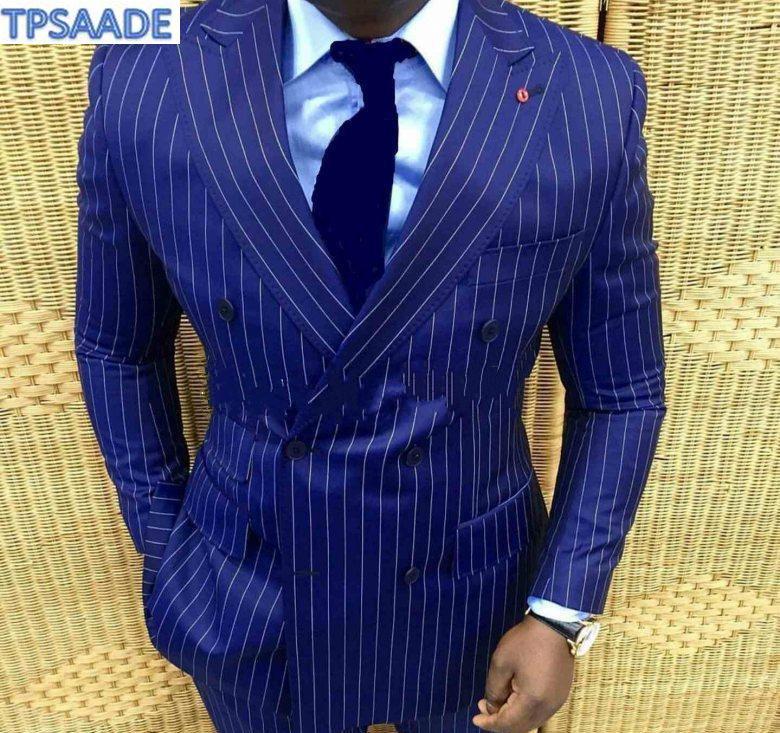 Костюм Homme темно-синий полосатый мужской костюм для деловых пиджаков костюмы свадебного жениха широкий остроконечный лацкан Slim Fit мужская куртка 2 шт.
