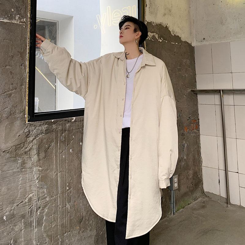 Мужчины Негабаритные Длинные рукава Свободные Повседневный Толстый хлопок проложенный рубашка куртка Мужской Vintage Streetwear Hip Hop Длинные рубашки Пальто Верхняя одежда
