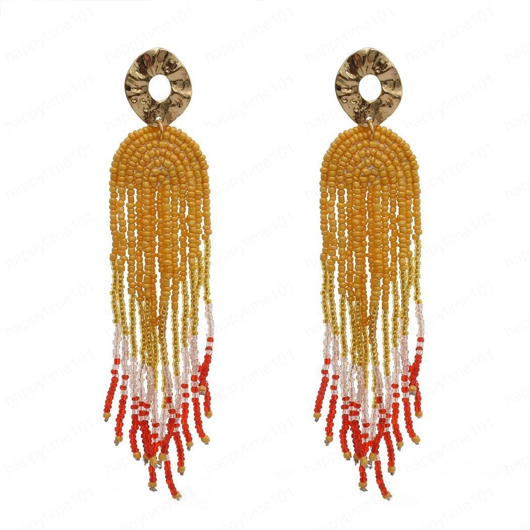 4 di colore della Boemia con la lega resina perline nappa lunga di goccia ciondola gli orecchini per i monili delle donne Dichiarazione del partito