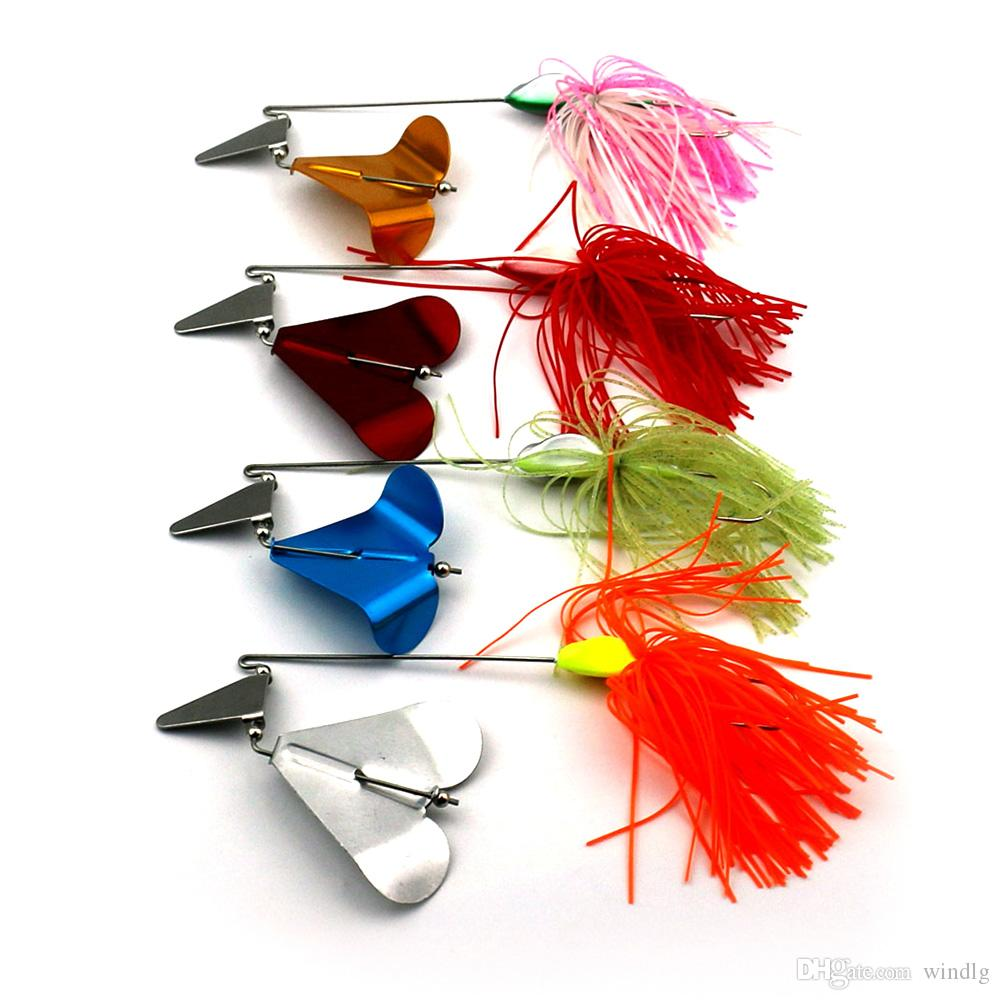 HENGJIA 4 Piece 22g Super Luring Spinner Bait Floating Fishing Topwater Metal jigs with Skirt Feather for Bionic