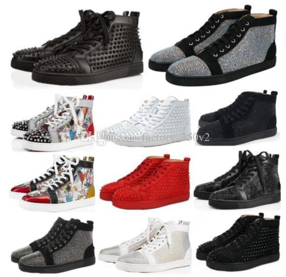 Designs Shoes Pico júnior panturrilha Mix Low Cut 20 parte inferior vermelha de luxo partido sapatilha Calçados casamento Genuine Spikes Couro Calçados Casual SIZE36-46