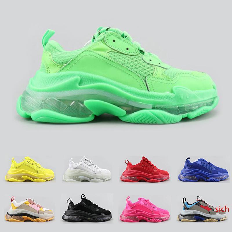 2020 yeni üçlü s moda lüks tasarım Ayakkabı Erkekler kadınlar Için Temizle sole neon yeşil siyah beyaz mavi erkek eğitmen platformu spor sneakers