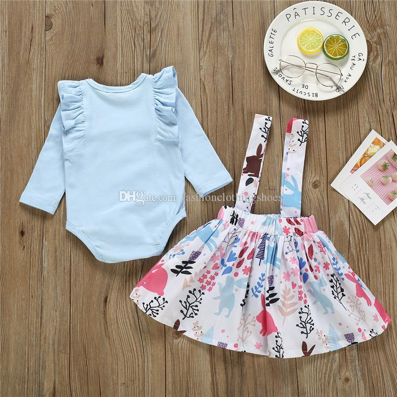 Easter Kids Baby Girls Bunny Rabbit Clothes T-shirt Tops Tutu Skirt Outfits Sets