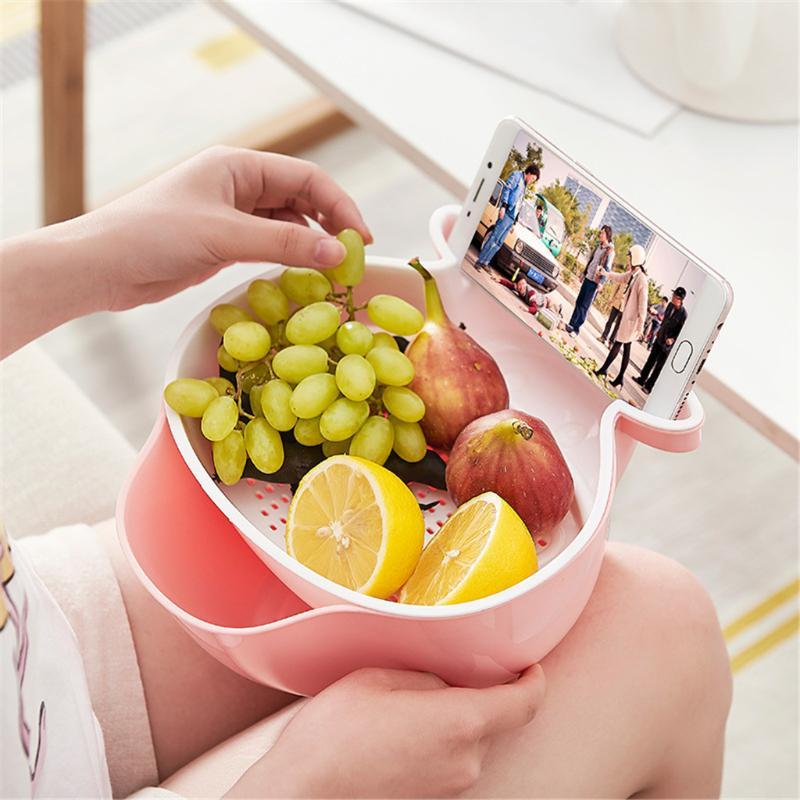 Doppio-strato di separazione design scoli carrello Fruit Bowl Fruit Basket PP Materiale # WY6