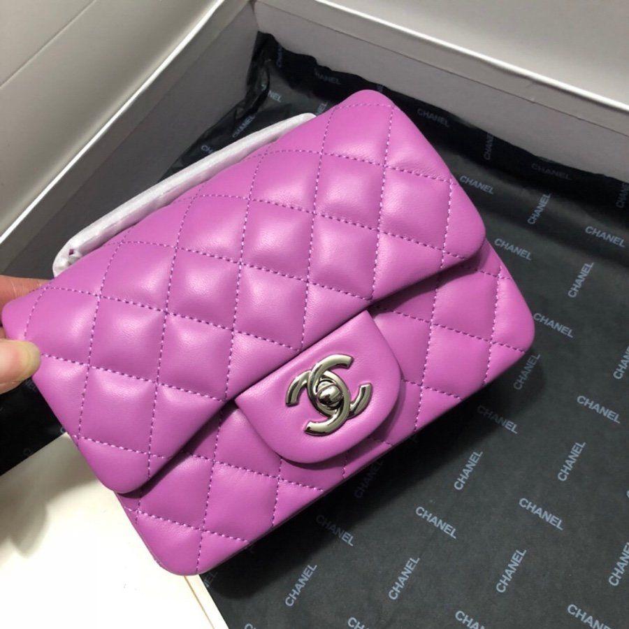 nouveau style exclusif sac à main en cuir de peau de mouton sac chaîne Purple dame Vérifiez grain petit sac carré taille d'épaule unique 17-3-12.5 cm