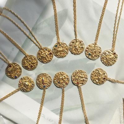 Altın rengi Hediyesi ile Erkekler Kadınlar Bildirimi Takı için 12 Constellation kolye kolye Burç Altın Sikke Disk kolye Burç Kolyeler