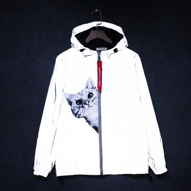 2020 Harajuku Cat zipper reflective jacket waterproof men/women hooded hip-hop streetwear windbreaker jackets night shiny coats