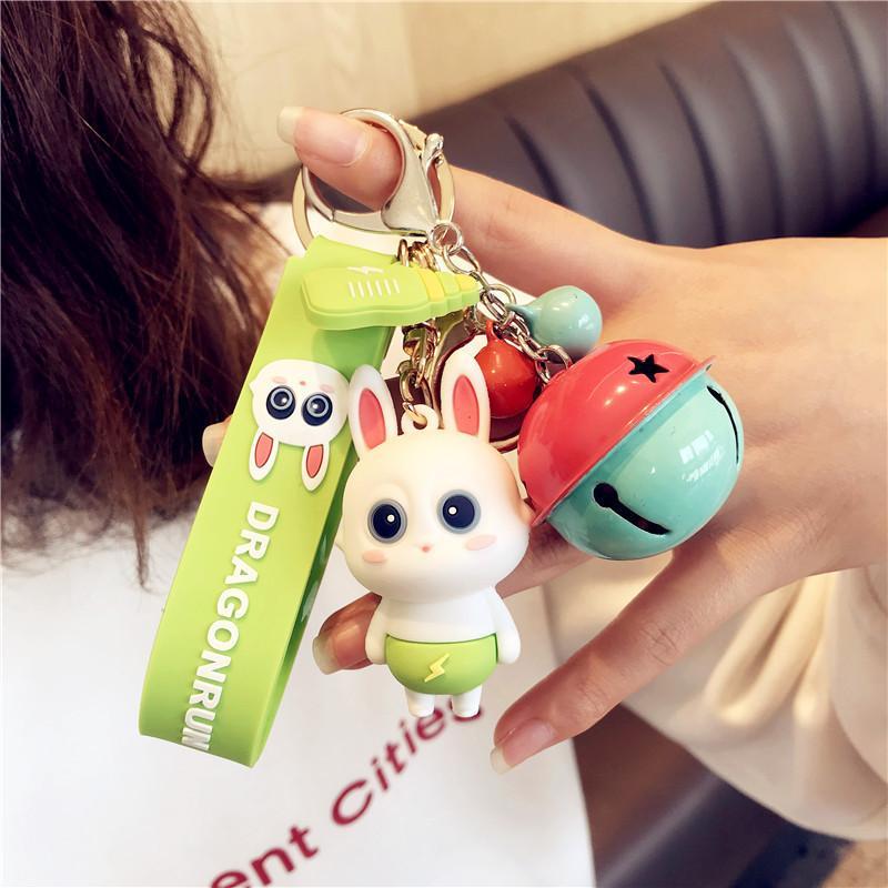 Женщины Bell Digital KeyChain Мода Элегантный Кролик брелки прекрасный подарок брелок Унисекс двери автомобиля Key Ring
