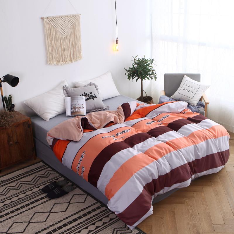 영국 스타일의 오렌지 줄무늬 이불 커버 성인 아이 침구 세트 소프트 코튼 이불 커버 이불 케이스 트윈 전체 퀸 킹 사이즈