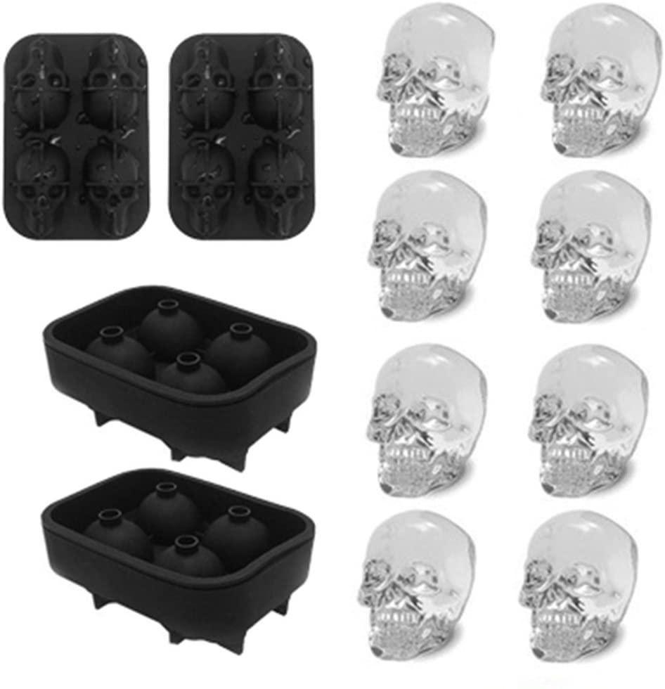 Vassoio del silicone 3D Skull flessibile fa quattro Giant Skulls rotonda del cubo di ghiaccio