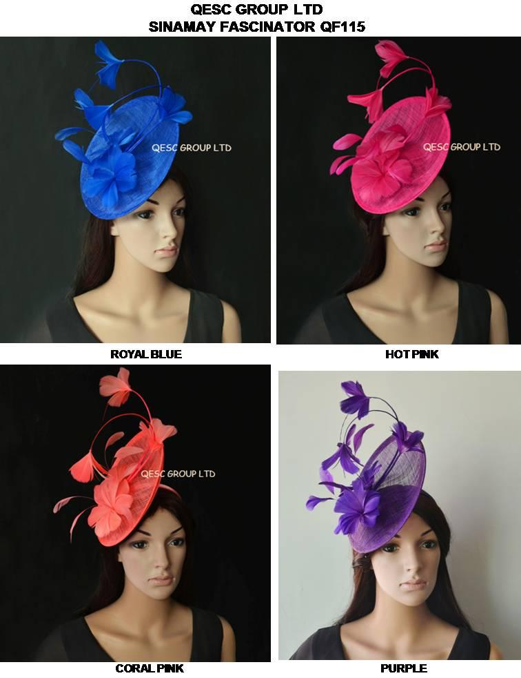 Nuovo arrivo. sinamay cappello fascinator della piuma per la Melbourne Cup, Wedding.Kentucky derby, blu Races.royal, nero, rosa caldo, rosa corallo.