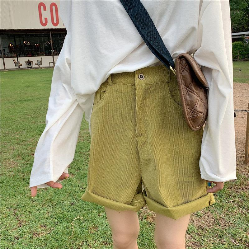 Gatito extranjero de talle alto pana pantalones cortos de verano 2020 Nueva Corea delgado elegante sólido Moda suelta Mujeres retro Streetwear Sexy Pantalones cortos