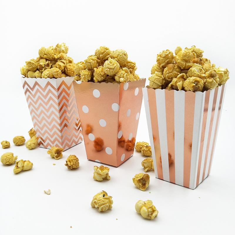 36pcs Metallic Rose Gold Popcorn Box Corn Scoop Popcorn Bar Karneval-Partei-Dekor Zirkus-Geburtstags-Party Hollywood Movie Night