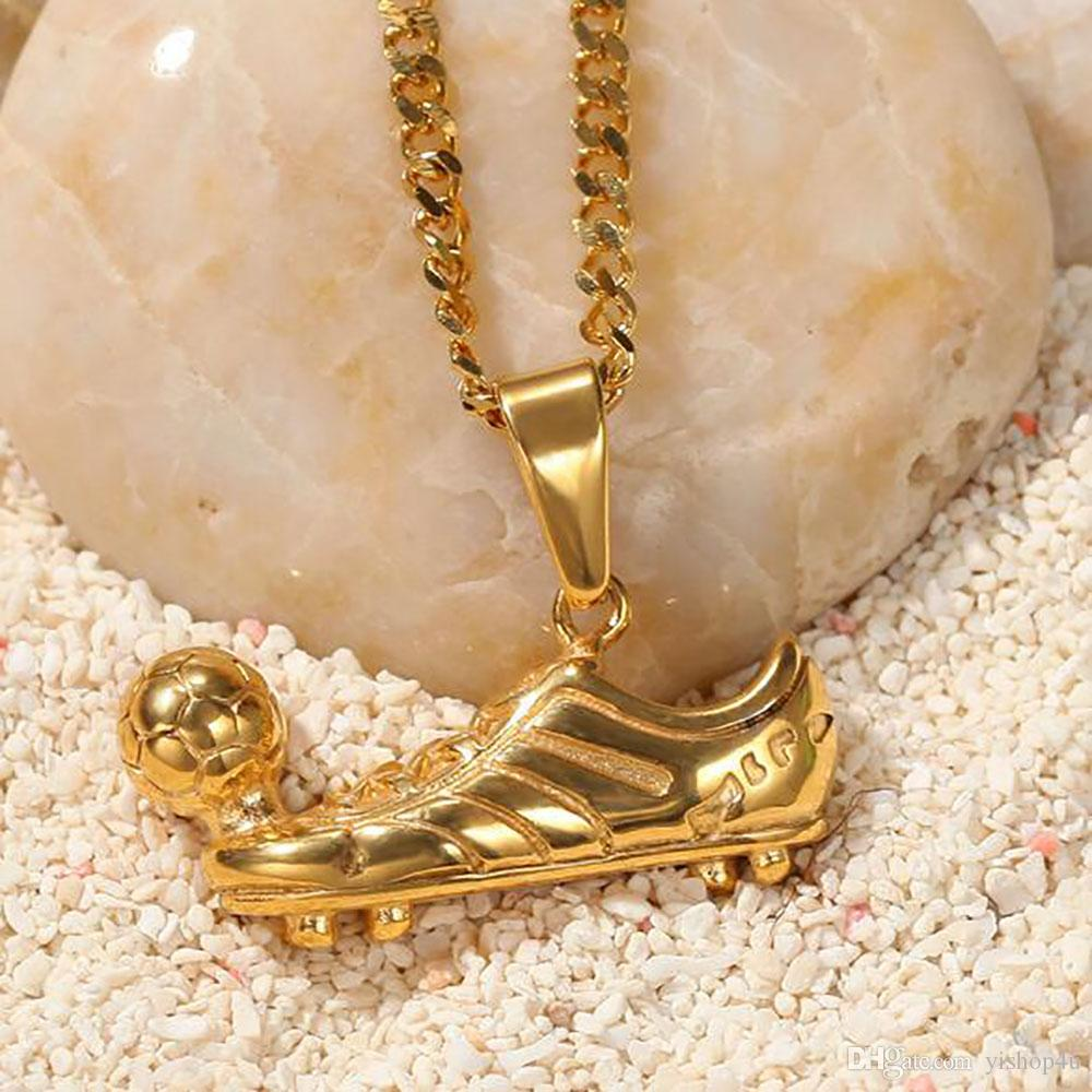 Mens 18K Gold Plated Football Player Soccer Shoes Pendant 316L Stainess Steel Pendant Necklace ShoesPendant 24inch Rope Chain