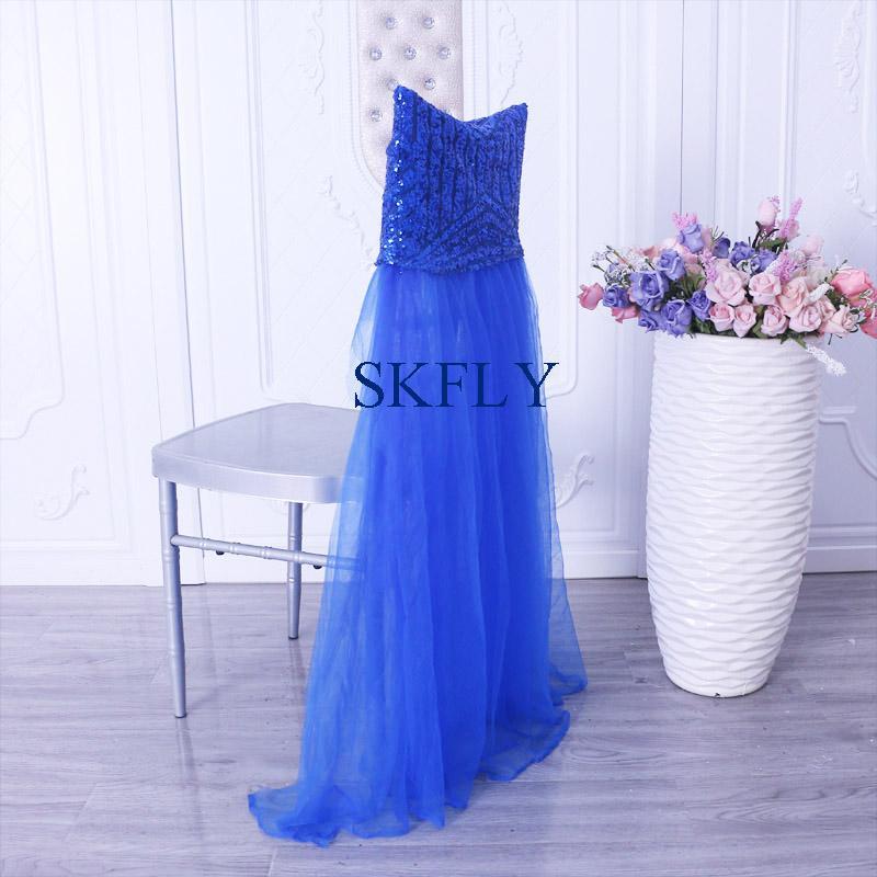 CH110A العديد من الألوان المتاحة المحرز في الصين الزفاف spplier جديدة يتوهم الملكي الترتر الأزرق وتول توتو كرسي يغطي