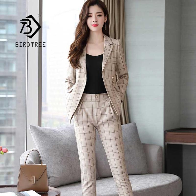 New Women's Pliad Full Pant Suit Notched Slim Blazer Jacket High Waist Pants Female Office Lady 2 Pieces Set Hot Sale S96203Z