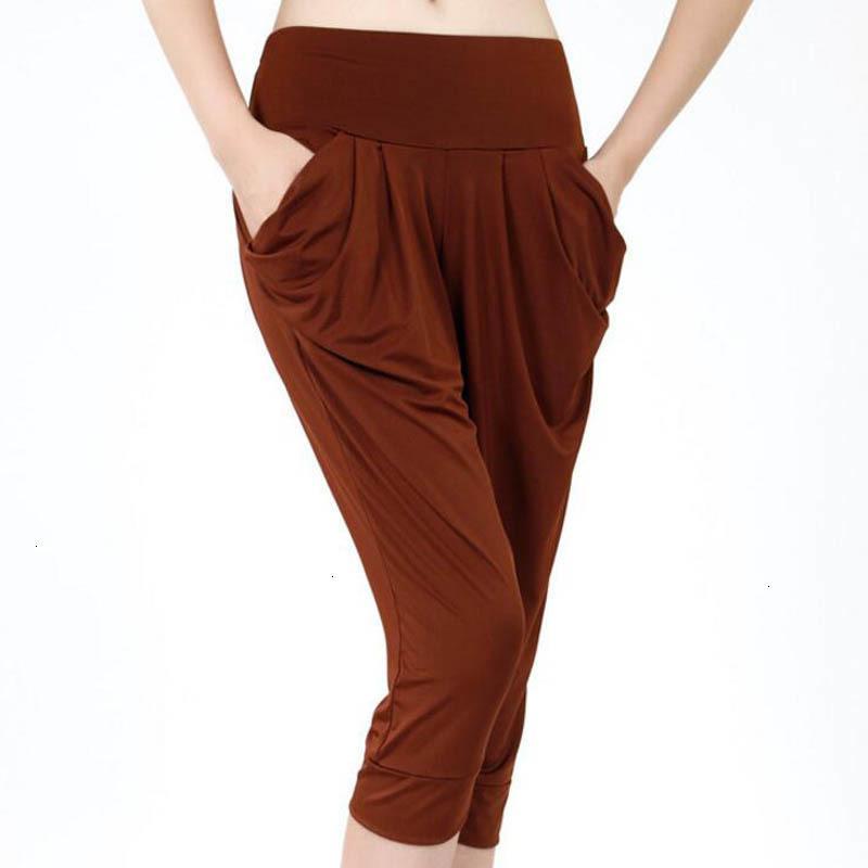패션 하렘 팬츠 디자이너 레깅스 캐주얼 바지 송아지 길이는 대형 사이즈 순수한 컬러 탄성 허리 캐주얼 바지 느슨한 카프리을 여자
