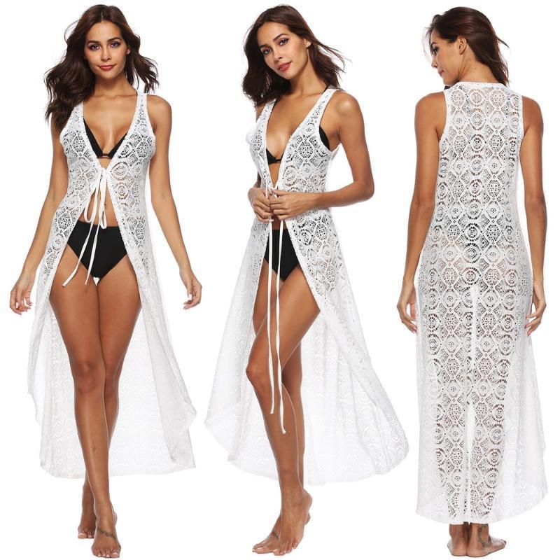 Traje de baño de las mujeres encubrimiento del vestido Sexy cuello en V sin mangas de encaje sólido a prueba de sol de la playa para el verano Un tamaño