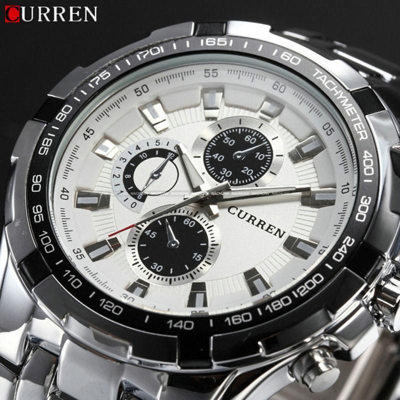 Top Brand di lusso casual Full Acciaio sport della vigilanza degli uomini del quarzo di modo degli uomini Orologi militari orologio impermeabile