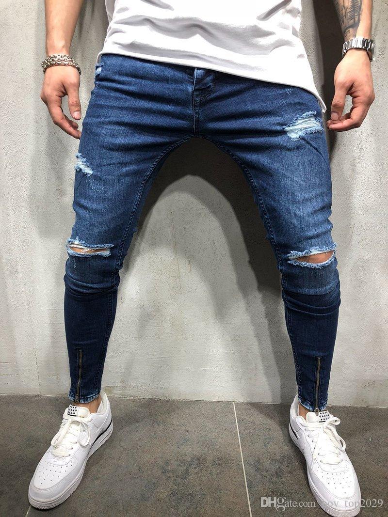 Nouvelle explosion Ripped Skinny Worn Wear Hole Fashion Jeans Moto Commerce extérieur Été Hommes Jeans
