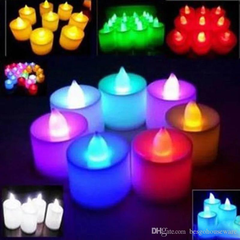 여러 가지 빛깔의 전자 촛불 조명 LED가 시뮬레이션 촛불 빛 생일 생일 Flameless 깜박임 촛불 홈 인테리어 BH1905 CY