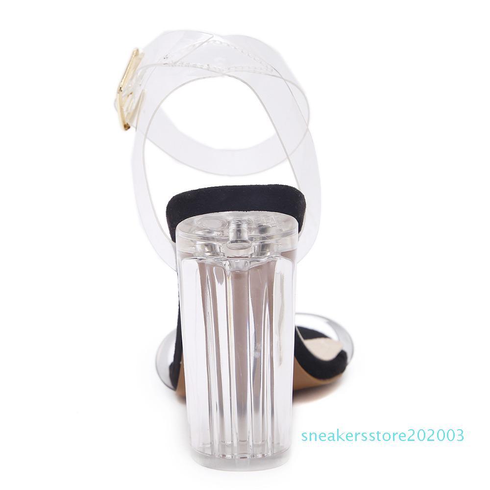 NIUFUNI 2020 PVC-Frauen-Pumpen-reizvolle freie transparenten Knöchelriemen-Absatz-Partei-Sandalen Frauen Schuhe Sapatos zapatos mujer s03