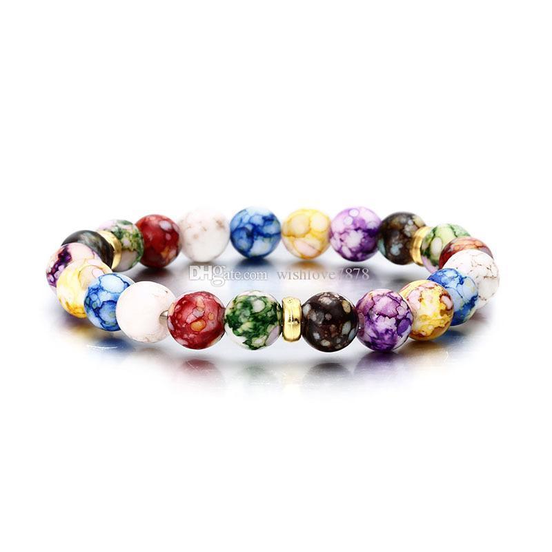 Hot ventes Hommes Femmes Yoga Lava Rock Pierre naturelle Bracelet Chakra colorés Perles Bracelets naturel Agate Pierre élastique Bracelet énergie