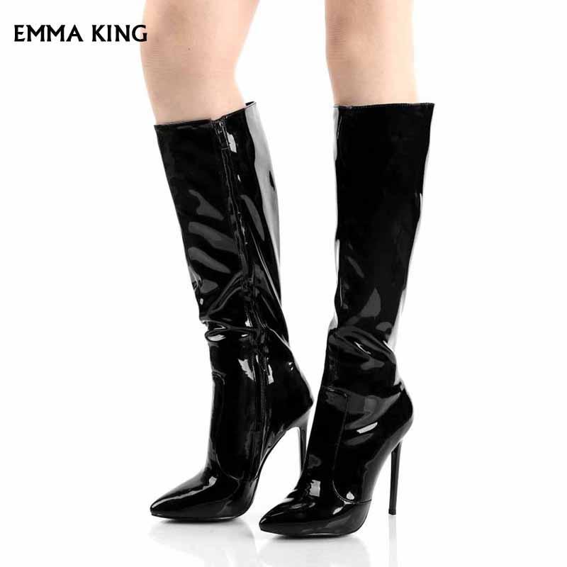 Signore grande formato libera del cuoio del ginocchio sexy verniciata nera trasporto di alta Stivali Donne Scarpe a punta del tacco alto a spillo partito