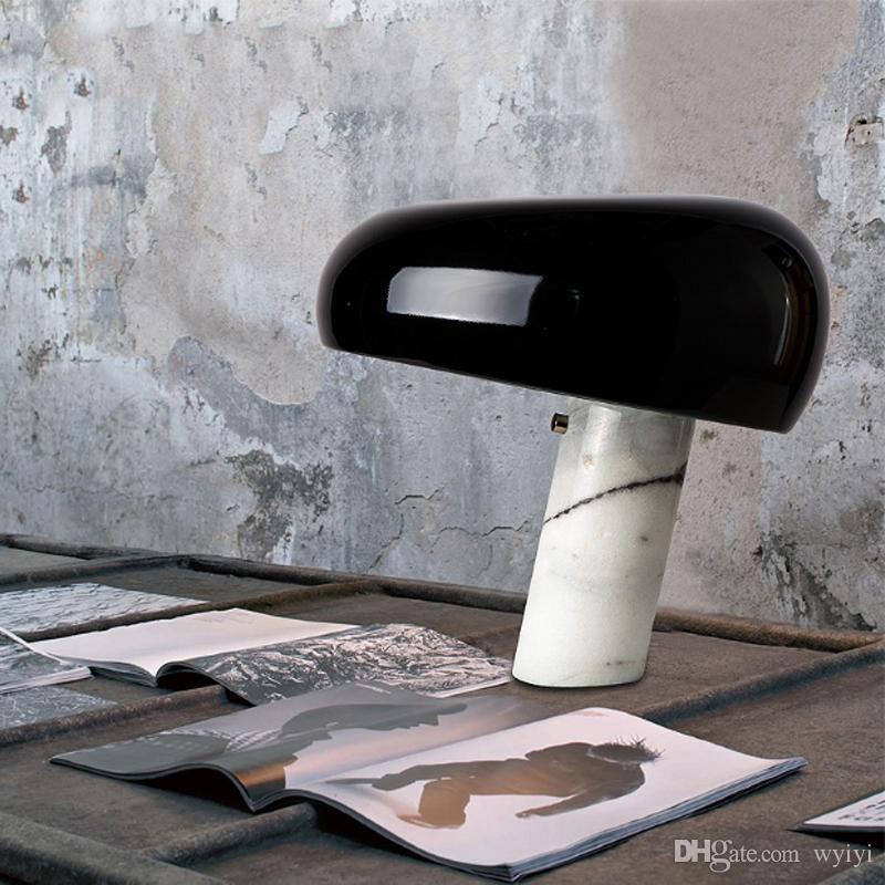현대적인 미니 멀리 즘 버섯 디자인 금속 장식 테이블 램프 북유럽 침실 흰색 대리석 기본 투명 유리 E27 LED 조명