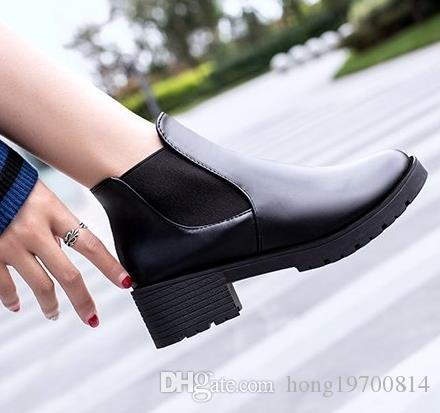 New 2019 Fashion Spring and autumn boots for women's Motorcycle Boots Casual High heels Round Toe Women Casual shoes size 35-39