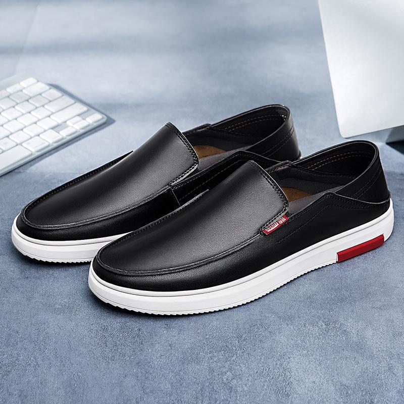 Zapatos de los hombres de los holgazanes mocasines de cuero genuino de Brown que conduce los zapatos para hombre casual deslizamiento EUDILOVE marcas en% D1413 formal